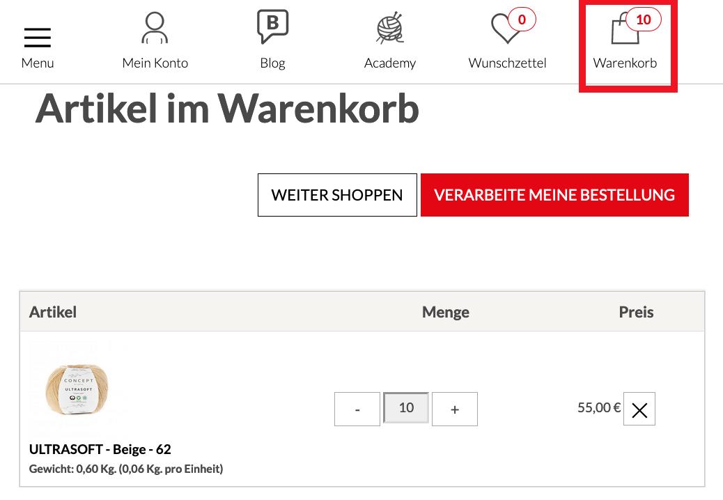 KatiaShop-Garne-Stoffe-online-kaufen-Warenkorb