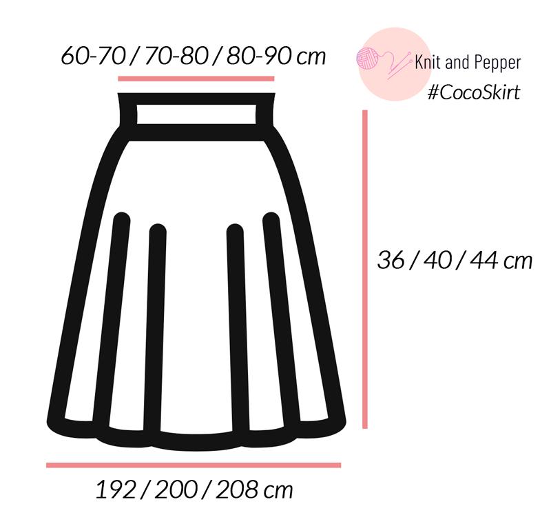 Faltenrock-stricken-Maße