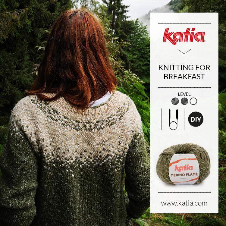 Top down Pulli mit Rundpasse von Knitting for Breakfast