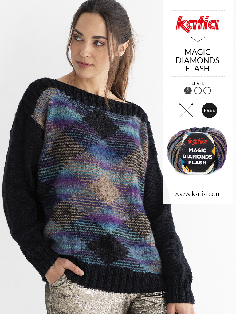 Pullover-für-Anfänger-Magic-Diamonds-Flash-Karomuster-Planned-Pooling