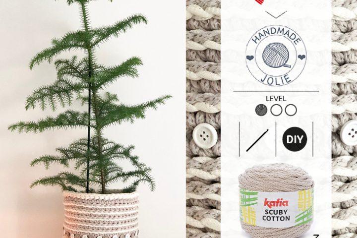 Blumentopf-häkeln-Häkelkorb-Weihnachtsbaum