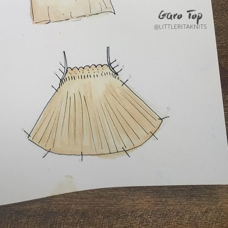 Trägertop-stricken-Garo-Top-Patentmuster