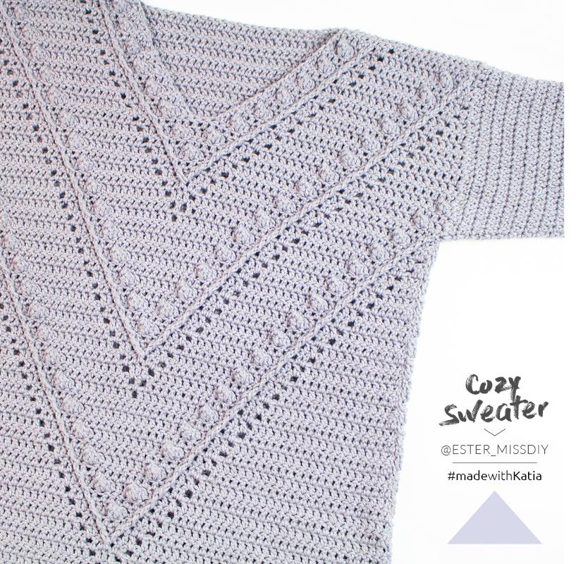 Pullover-häkeln-Reliefstäbchen-Noppen-Lochmuster