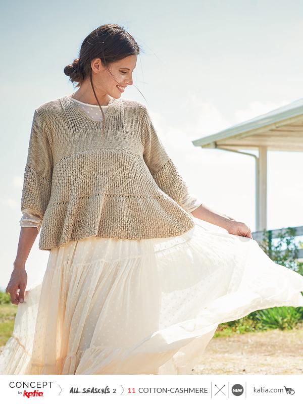 Katia-All-Seasons-2-Cotton-Cashmere-Pulli-mit-Rüsche