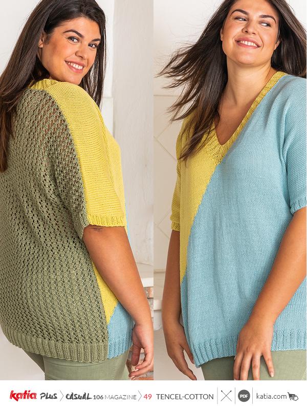Anleitungen-zum-Stricken-große-Größen-Shirt-Colourblocking