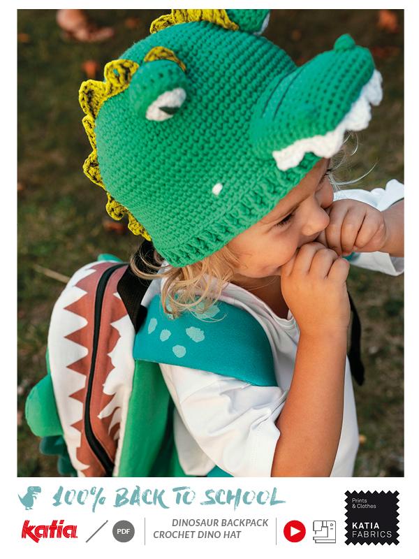 Dinosaurier-Rucksack-nähen-Panels-Dino-Mütze-häkeln