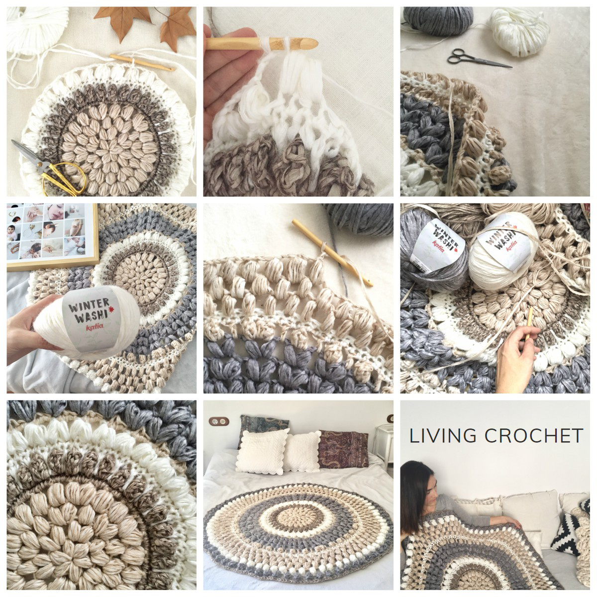 Living Crochet shows you how to crochet a round rug with Winter Washi