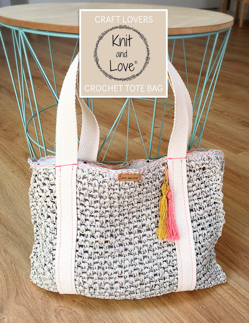 Make a simple raffia Tote Bag using the video and the Knit