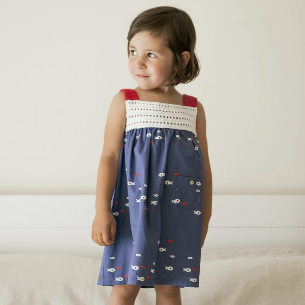 knit and fabric dress for girls