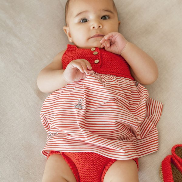 knit and fabric baby dress, knickers and shoes