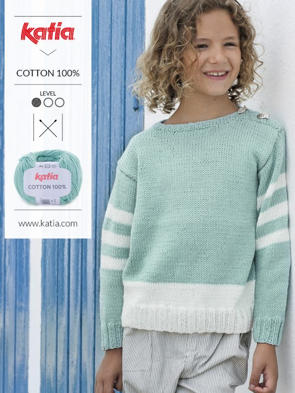 knitted sweater with 3 white stripes on the sleeves