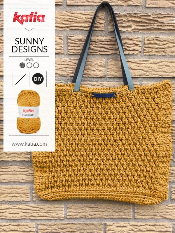 square bag made with front post double crochet by sunny designs  katia yarns
