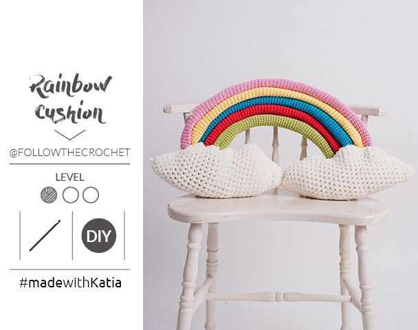 crochet Rainbow Cushion