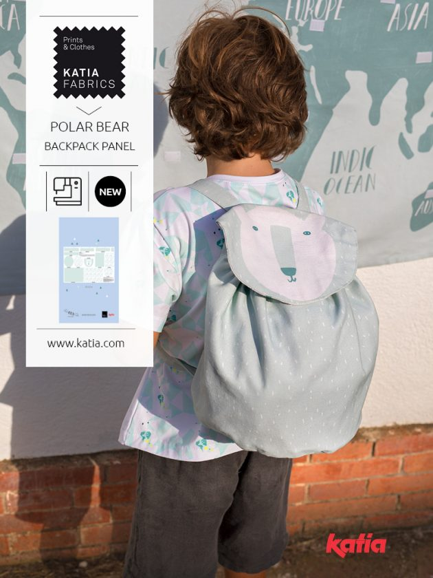 Kid's polar bear backpack panel