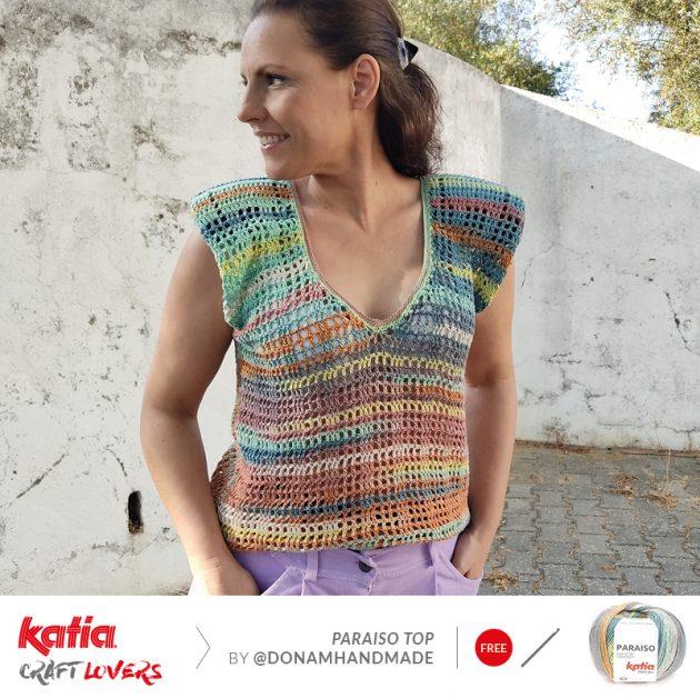 crochet top with V-neckline