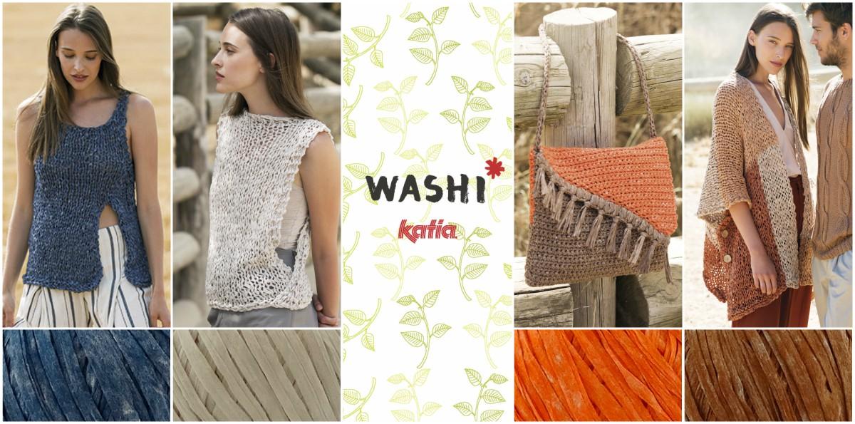 Patrones muy fáciles de tejer a punto y ganchillo con Katia Washi