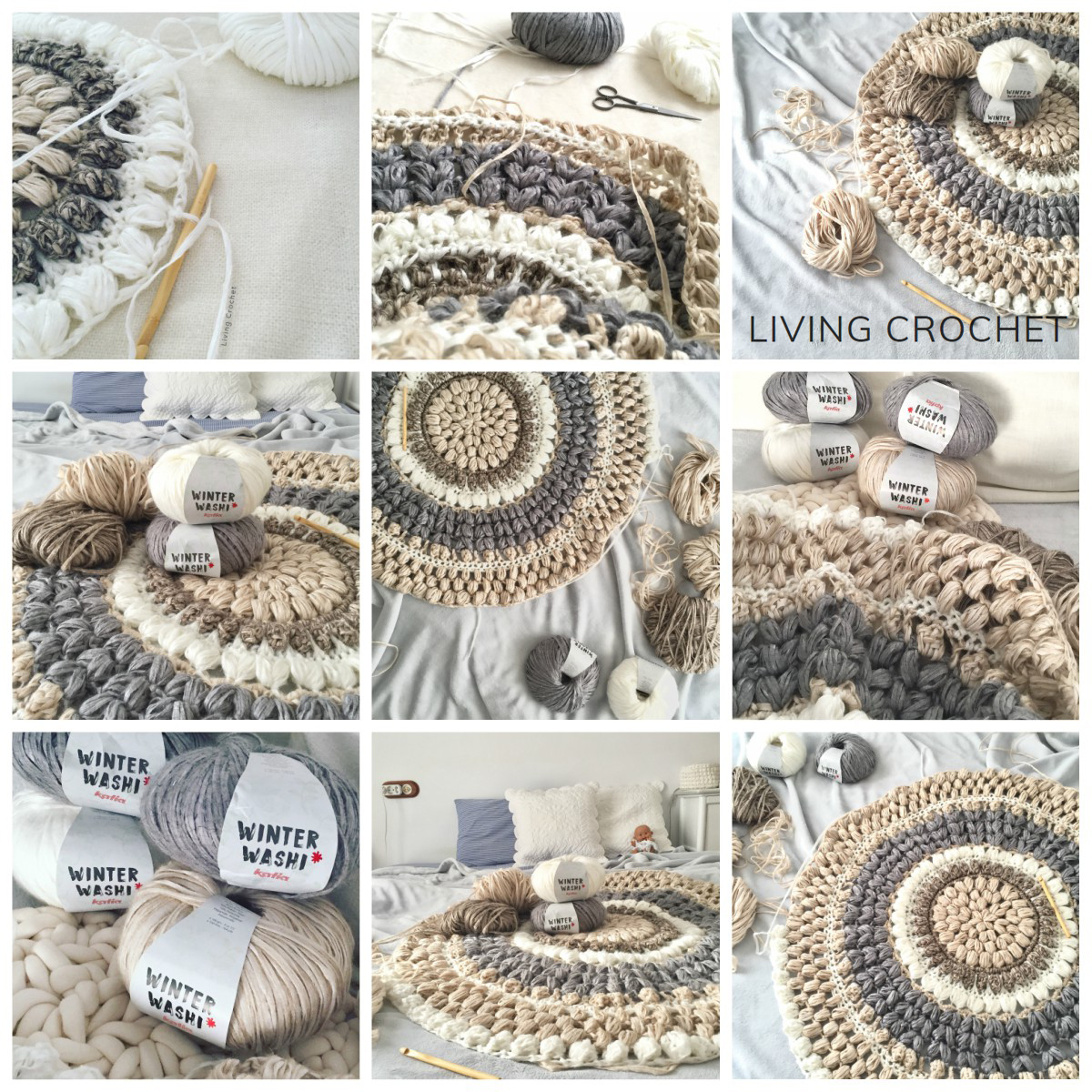 Living Crochet te enseña cómo hacer a ganchillo una alfombra redonda