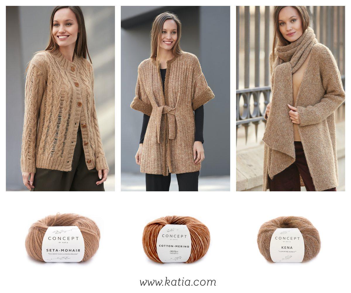 209d06205e Must-Knit by Katia  chaqueta abotonada con calados y trenzas  abrigo manga  corta con bordes contraste y cinturón anudado (Nivel  Fácil)  maxi bufanda  al ...