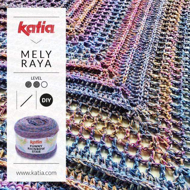Chal triangular hecho a ganchillo con sólo un ovillo Funny Rainbow Star por Mely Raya
