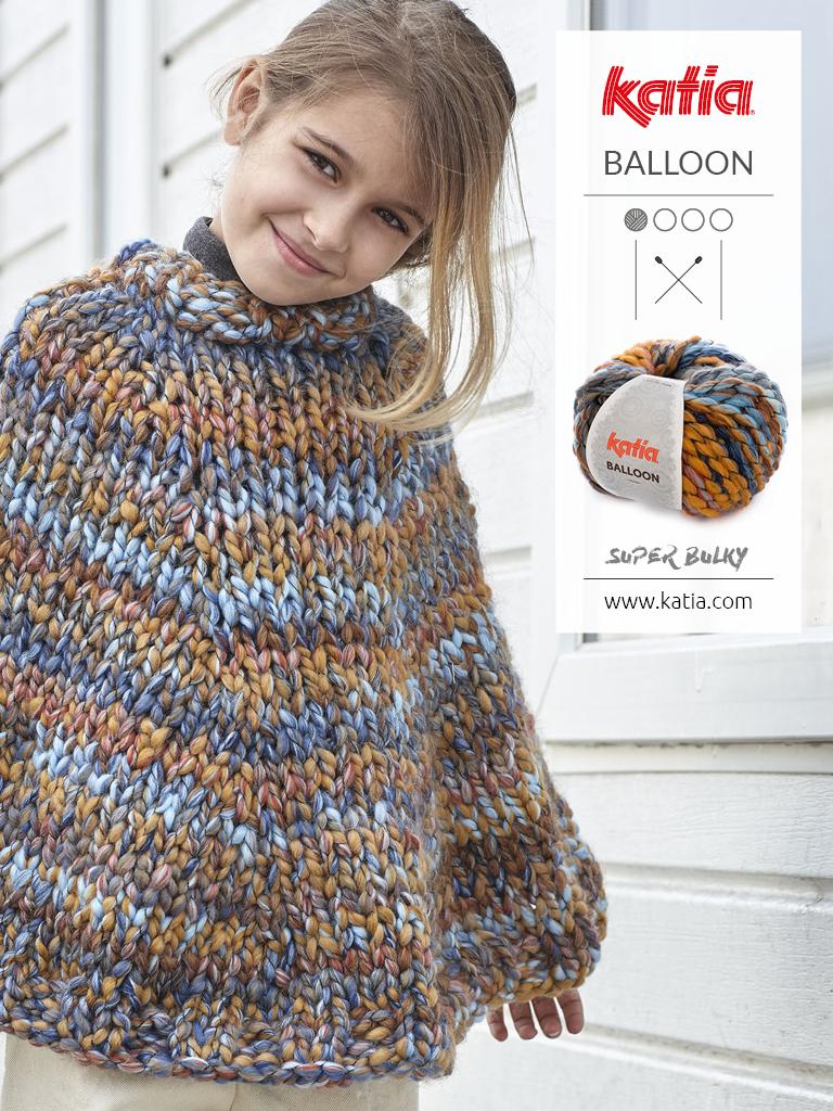 poncho multicolor fácil de tejer a dos agujas