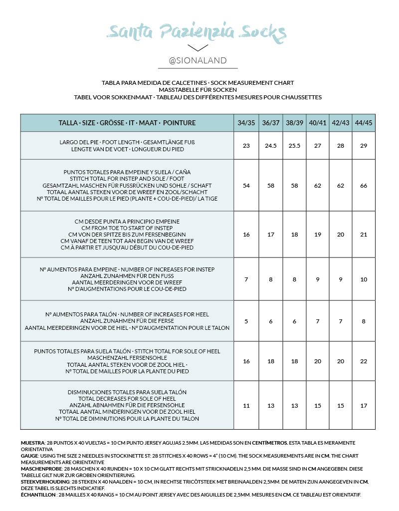 tabla de medidas de calcetines