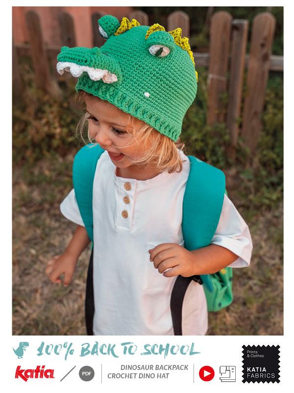 patrón crochet gorro dinosaurio