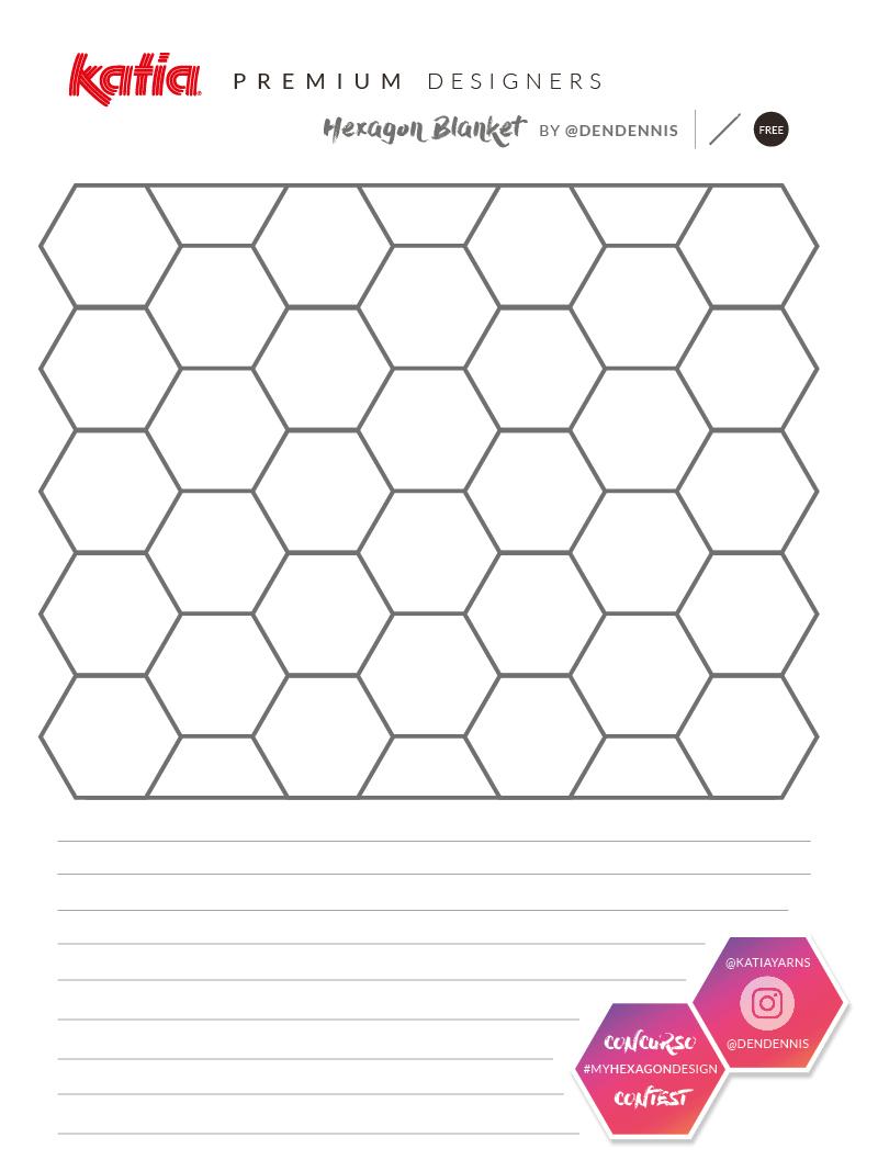 plantilla colcha hexagonal