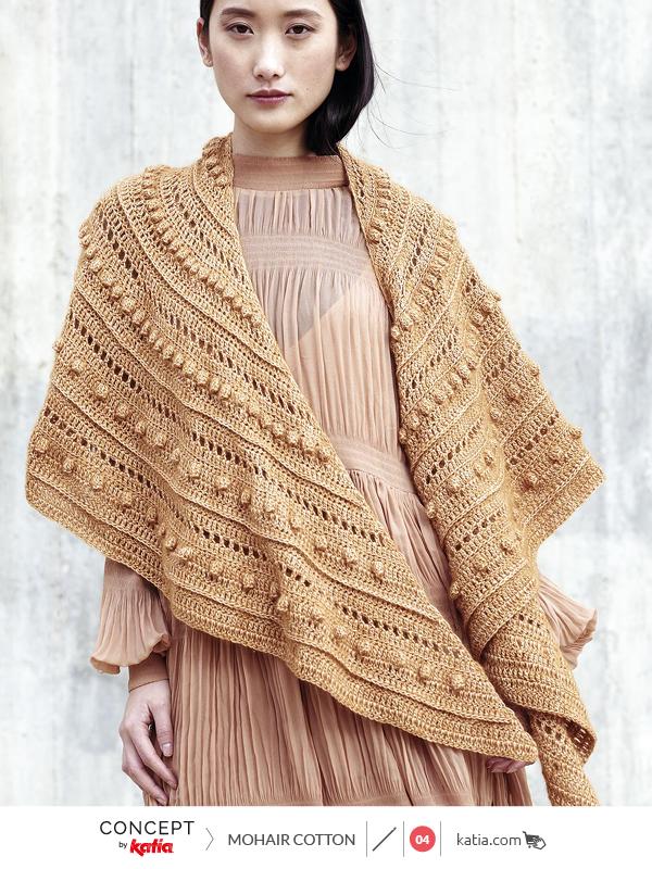 Crochet crescent shawl