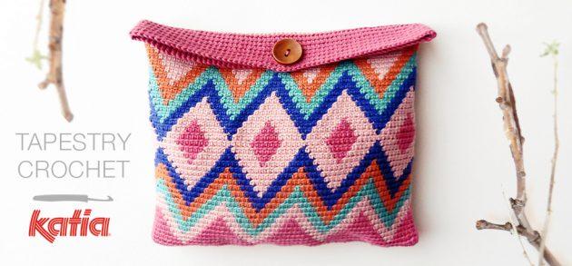 Impara il Tapestry Crochet  video e modello semplici per realizzare una  borsetta con questa tecnica all uncinetto aed473ee609a