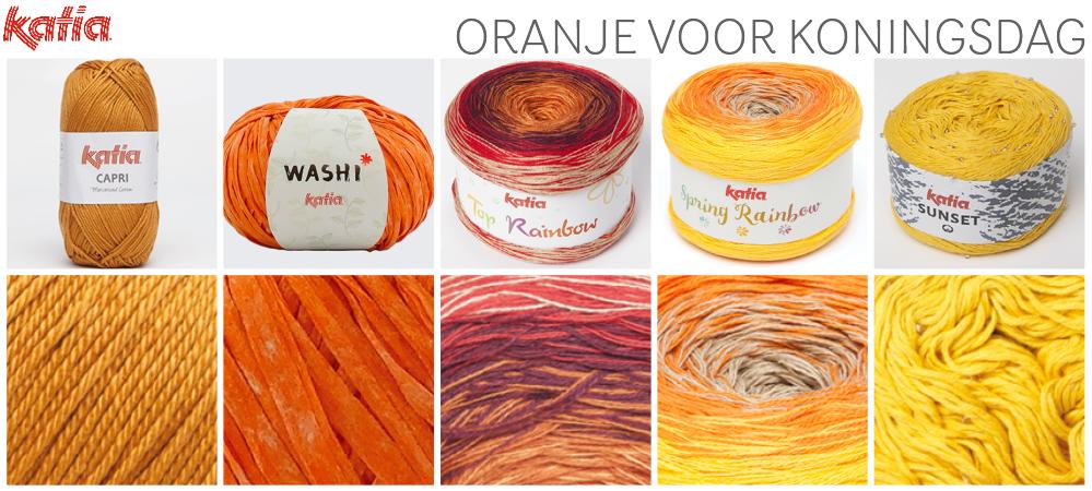 Katia oranje garen en haakpatronen voor Koningsdag