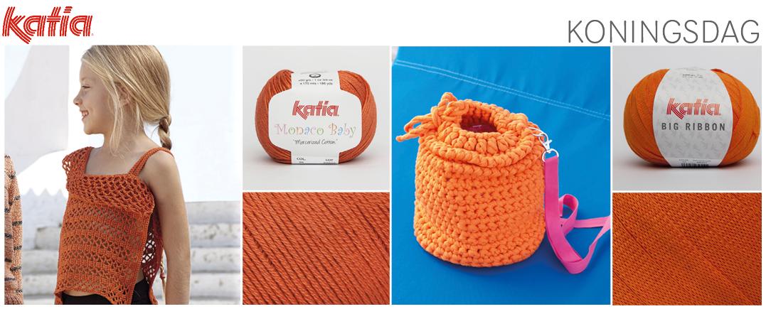 Katia oranje garens en haakpatronen voor Koningsdag