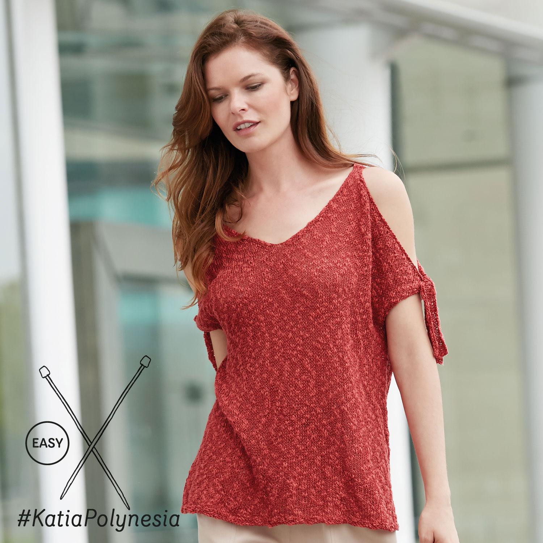 Katia gebreide top met open schouders - elegante en eenvoudige patronen