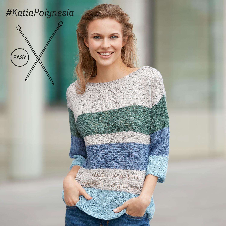 Katia gebreide trui met strepen - elegante en eenvoudige patronen