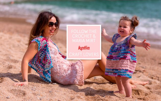 Gehaakte moeder dochter outfit - gratis haakpatroon voor vest en jurk