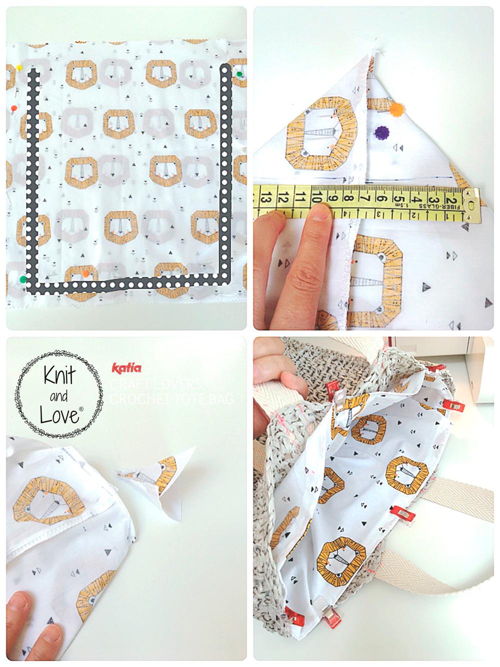 Raphia handtas haken - gratis haakpatroon door Knit and Love - voering toevoegen aan de binnenkant