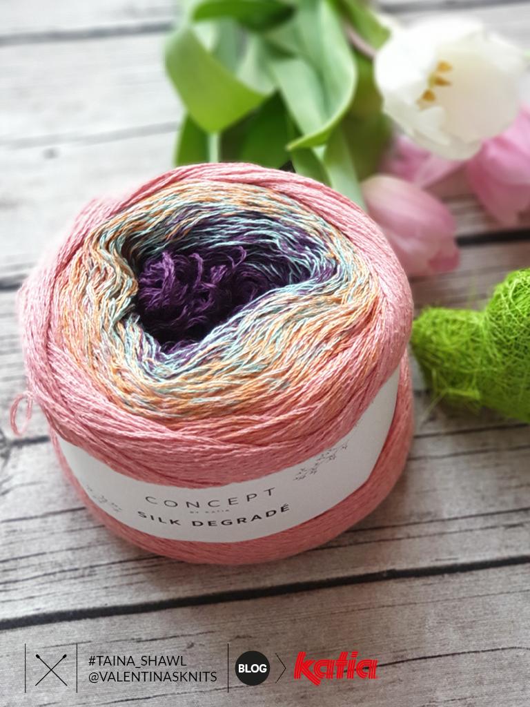 Valentinasknits - ajour sjaal omslagdoek breien - Katia Silk Degrade