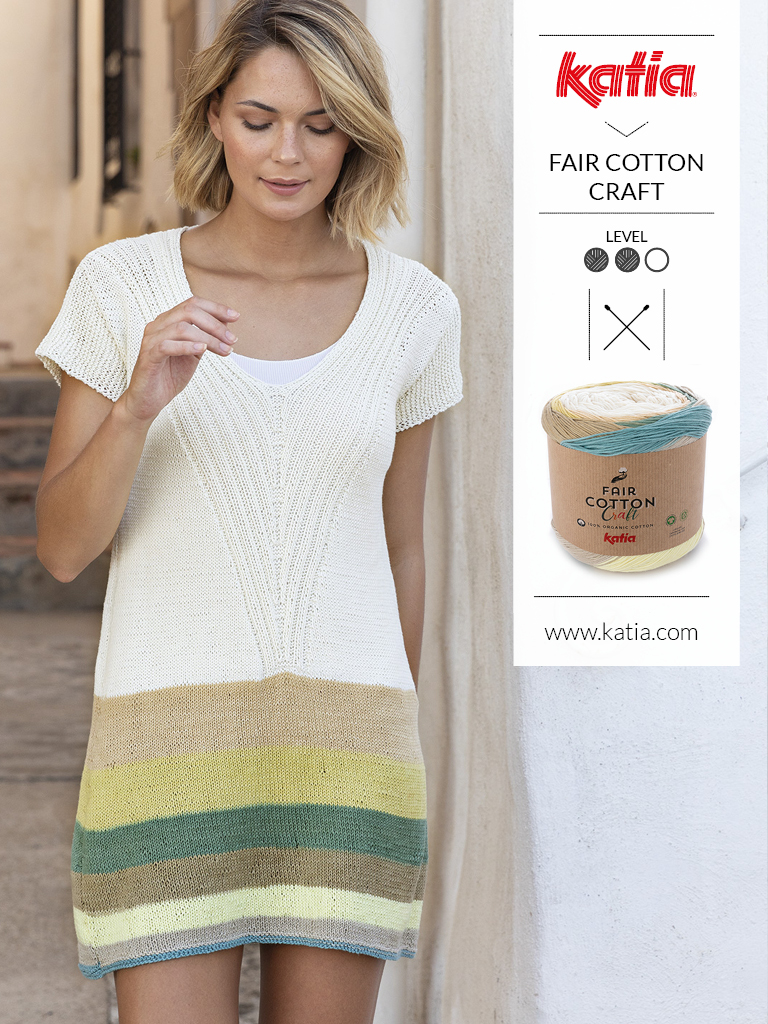 Damesjurk gemaakt met Katia Fair Cotton Craft