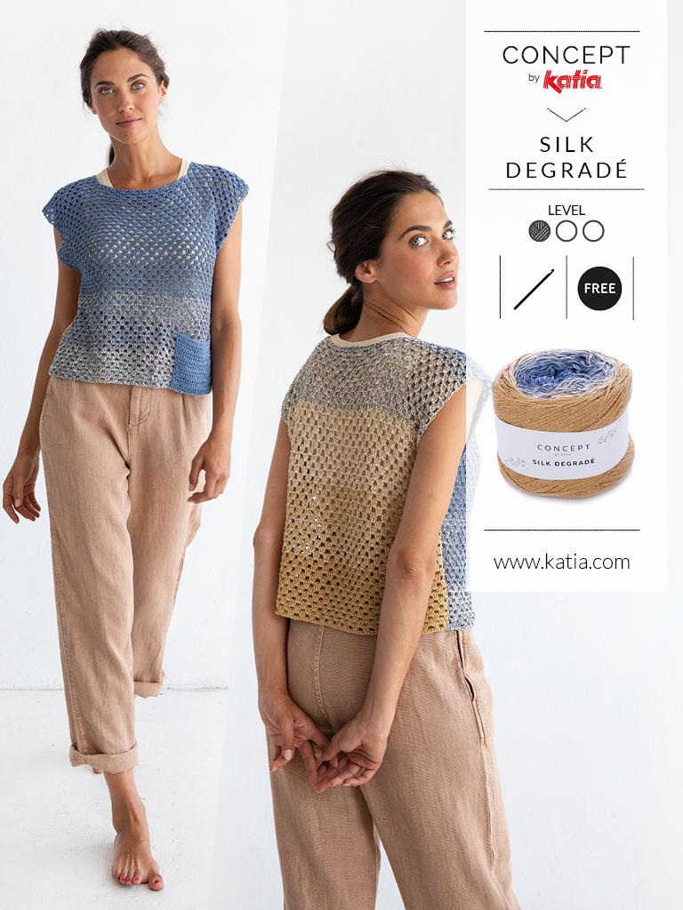10 eenvoudige gehaakte topjes voor dames - silk degrade patroon voor beginners