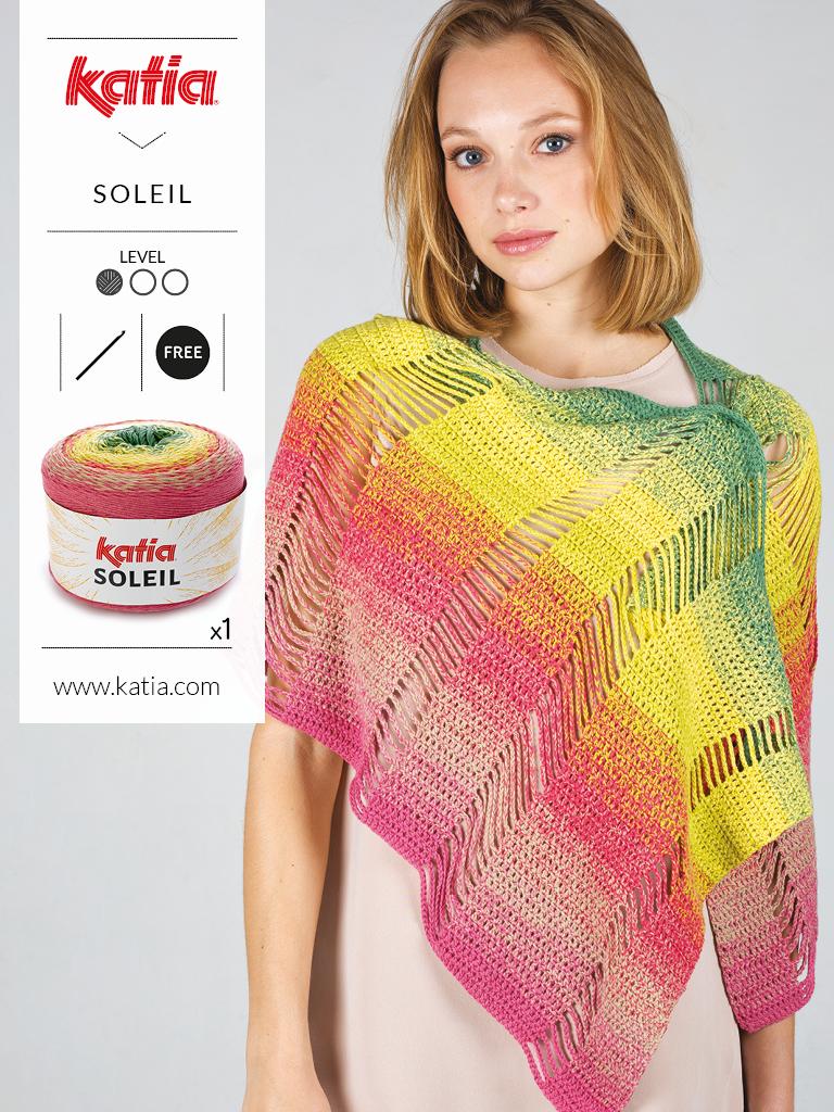 10 gratis zomerse haak- en breipatronen voor dames - gebreide omslagdoek Katia soleil