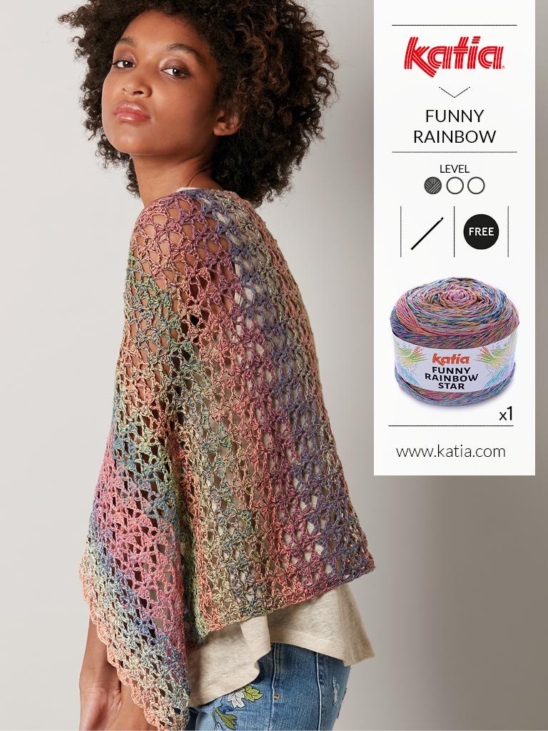 10 gratis zomerse haak- en breipatronen voor dames - omslagdoek Funny Rainbow star