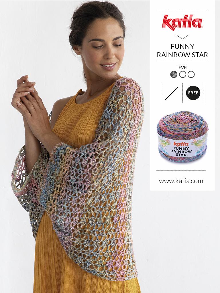 10 gratis zomerse haak- en breipatronen voor dames - poncho funny rainbow star