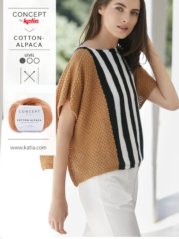 Gebreide poncho Katia Cotton Alpaca