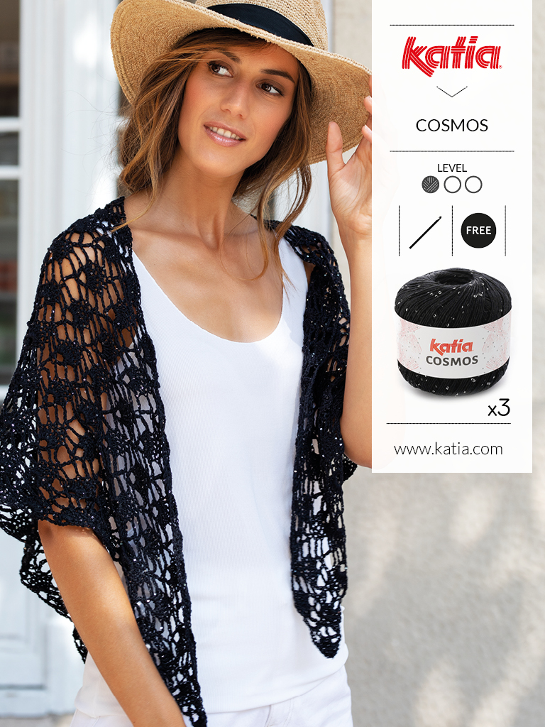 gehaakte omslagdoek met Katia Cosmos - gratis haakpatroon