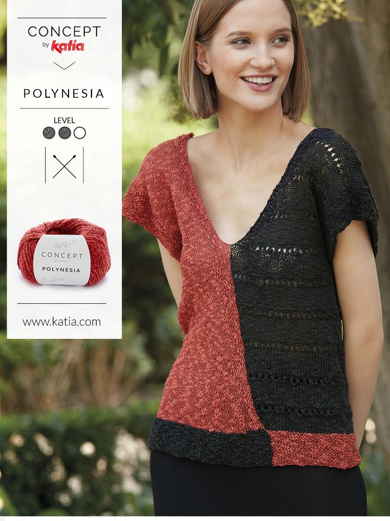 Gebreide v-hals trui met twee kleuren Katia Polynesia
