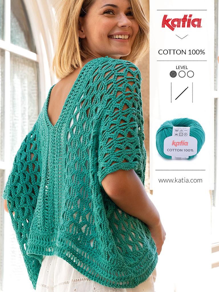 Gehaakte poncho trui Katia Cotton