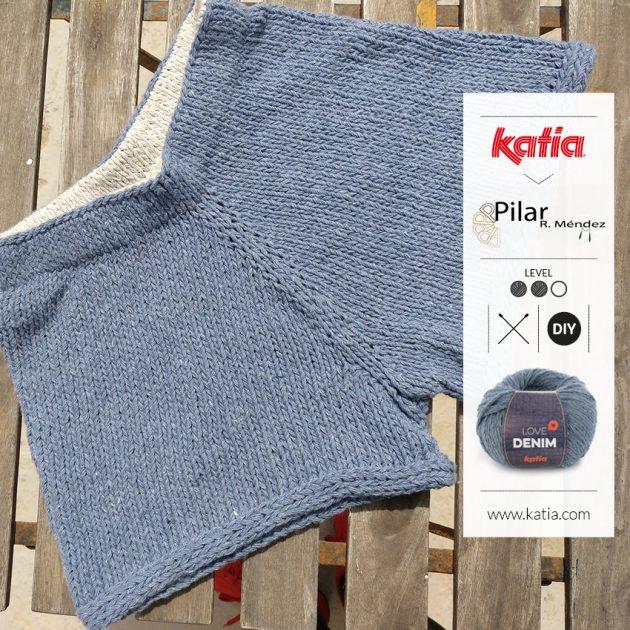 Gebreide shorts door Gebreide short met Katia Love Denim: gratis zomers breipatroon door Tejiendo la Isla met Katia Love Denim - gratis breipatroon
