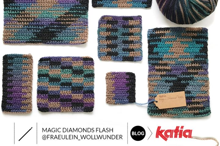 Unieke gehaakte muts met planned pooling techniek - Katia Magic Diamonds Flash