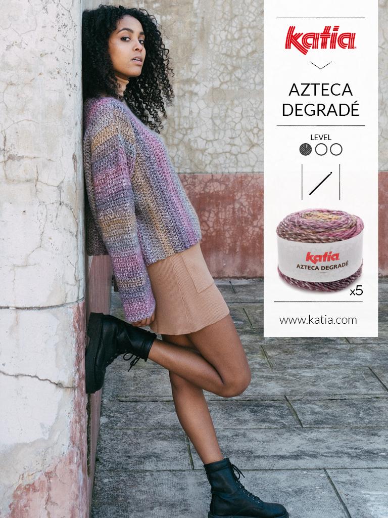 Handgemaakte trui met Katia Azteca Degrade