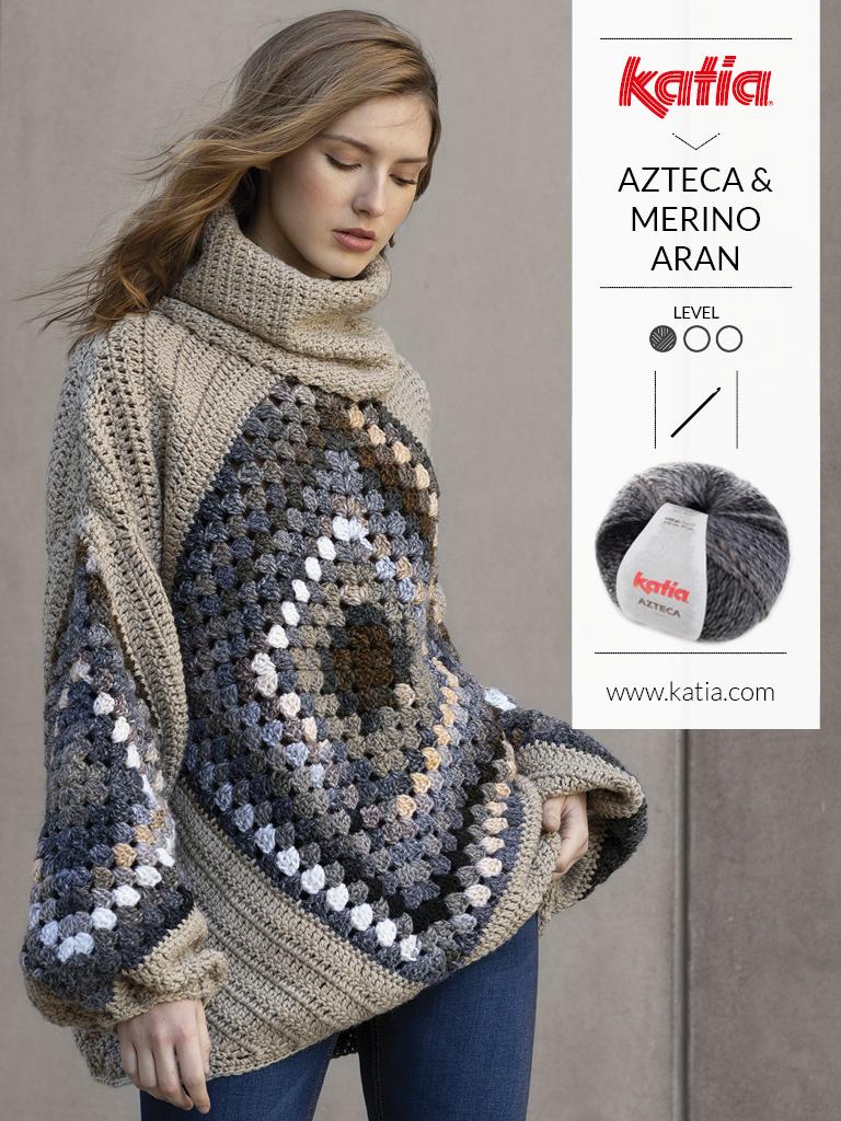 Handgemaakte granny square trui met Katia merino aran