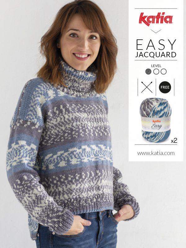 Handgemaakte jacquard trui met Katia easy jacquard